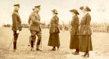 L-R: Charles O'Neill Conroy, Field Marshall Haig greeting three women at the inspection of the Girl