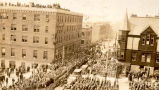 Field Marshall Haig's Visit: View of the crowd on Water Street, St. John's, looking West from the...