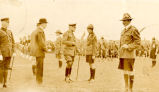 Field Marshall Haig's Visit: General Haig inspecting troops, headquarters of the Great War...