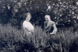 ''Jim and Kathleen Rorke near entrance gates at Dunrovin - about 1925''