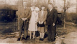 ''L-R: Rev. Stephen Pike, Cousin Floss Pike, Yvonne Rorke and Uncle Arthur Pike''