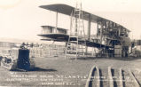 ''Handley-Page Biplane 'Atlantic', nearing completion, and a Clayton tractor for towing, Harbour Grace''