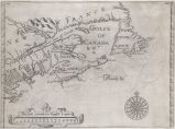 [Map showing New France, New England, New Scotlande and New Found Lande]
