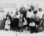 Group of Inuit and Moravian adults and children