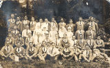 08.02.001: Group of 35 men in hospital uniform and 5 nurses, on verso a damaged fragment of group...