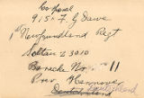 11.04.008: Address card for 915 Corporal F.G. [Frank Gilbert] Dawe, Hannover, Deutchsland...